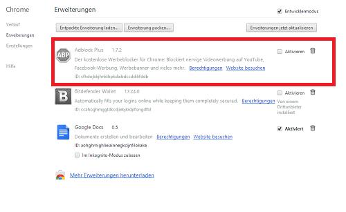 Adblocker Chrome Deaktivieren