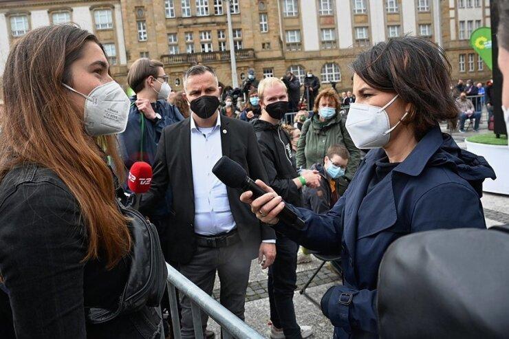 Großes Medieninteresse an Baerbock-Auftritt in Chemnitz