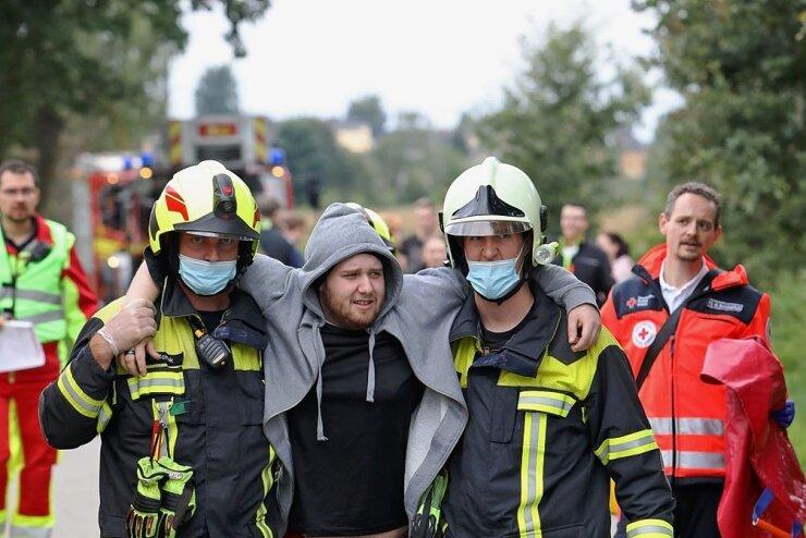 Katastrophenschutz probt in Niederwürschnitz den Ernstfall